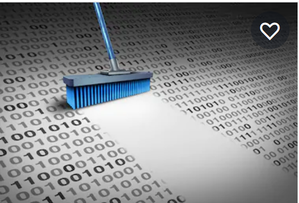 broom cleaning a book of data